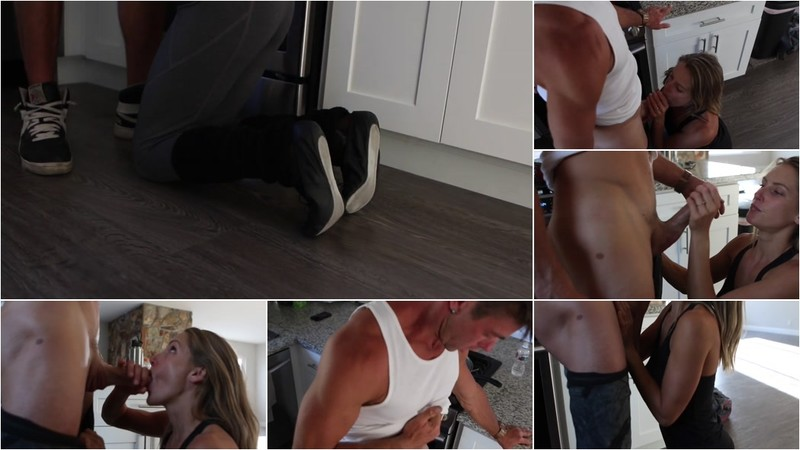 SparksGoWild - Hot Fitness Blonde gives Boyfriend a Sloppy Blowjob and Swallows - Watch XXX Online [FullHD 1080P]