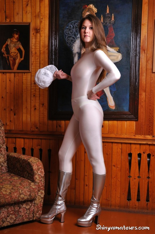 curvy girl Anna T in tight catsuit & boots