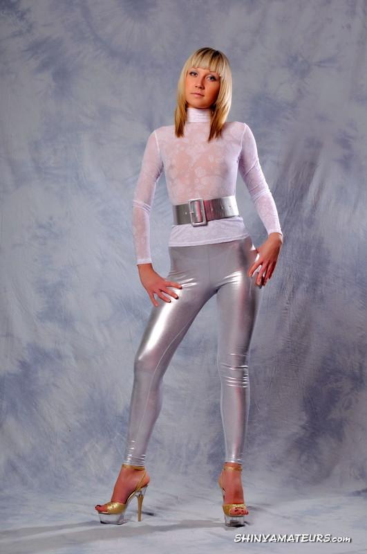 blonde girl Lena S in silver metallic leggings