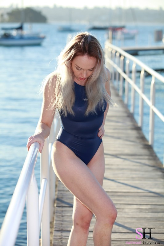 stunning lady Charlotte in blue realise swimsuit