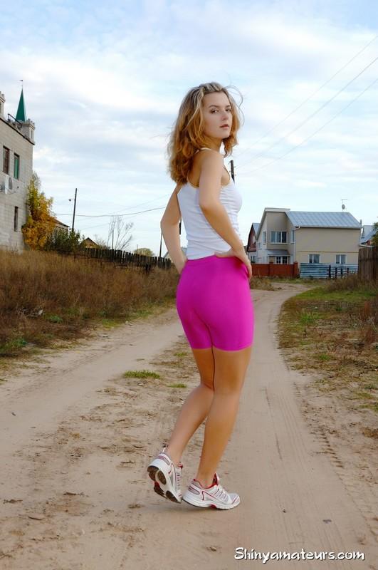 gorgeous teen Jenya in purple yoga shorts