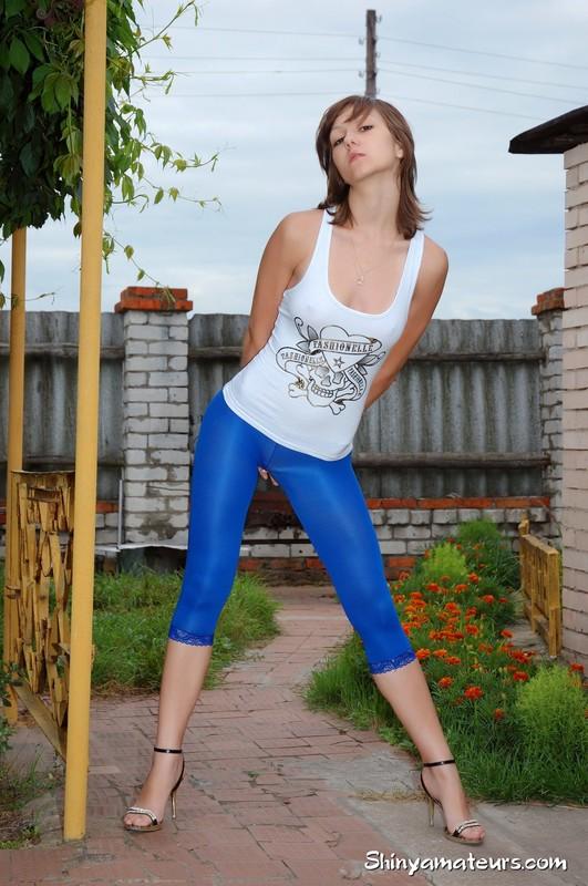 slavic teen Kira in sheer blue nylon leggings