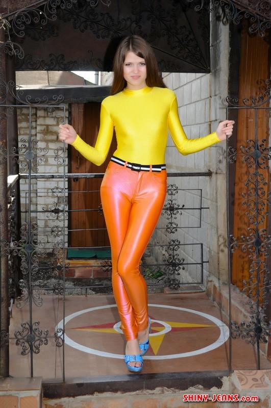 lovely girl Natasha K in orange disco pants