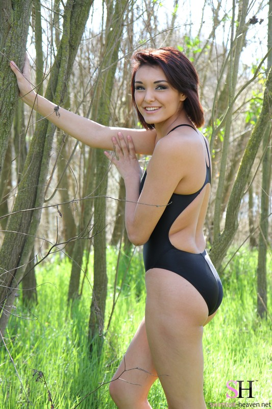 forest girl Anna in black 1 piece swimsuit