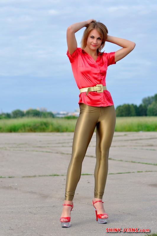 gorgeous girl Julia U in tight pants & high heels