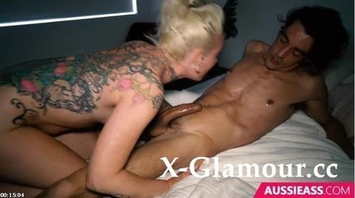 Tattooed Blonde Babe Swallows Huge Cock [SD]
