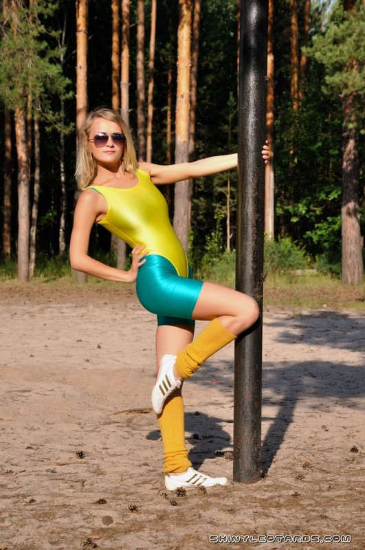 aerobics girl Katya K in yellow leotards & green lycra shorts