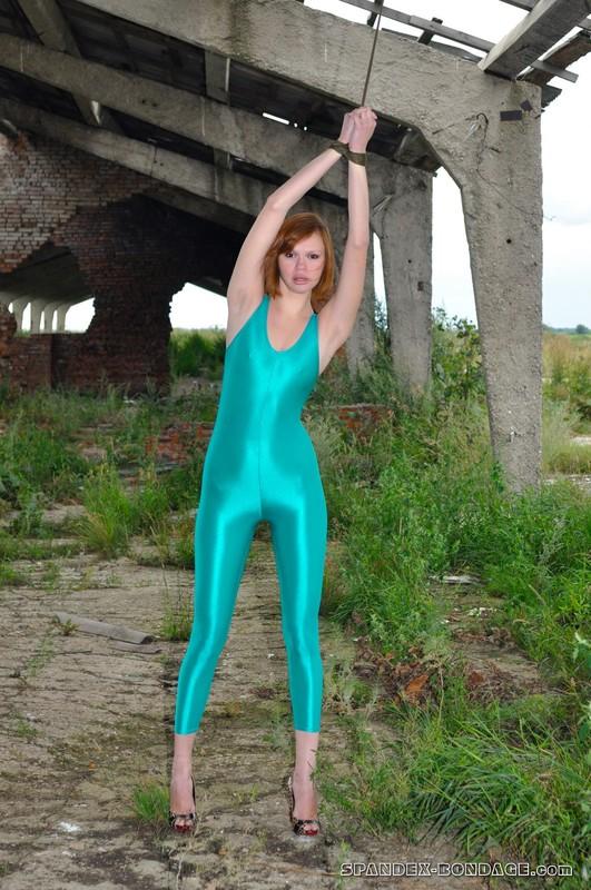 gorgeous model Julia A green jumpsuit & bondage