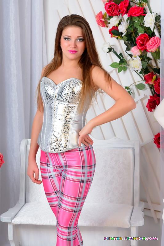 college babe Nastya G in pink flannel leggings & corset