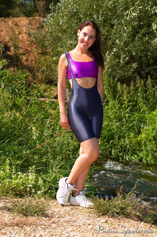 beautiful hiker girl in yoga shorts