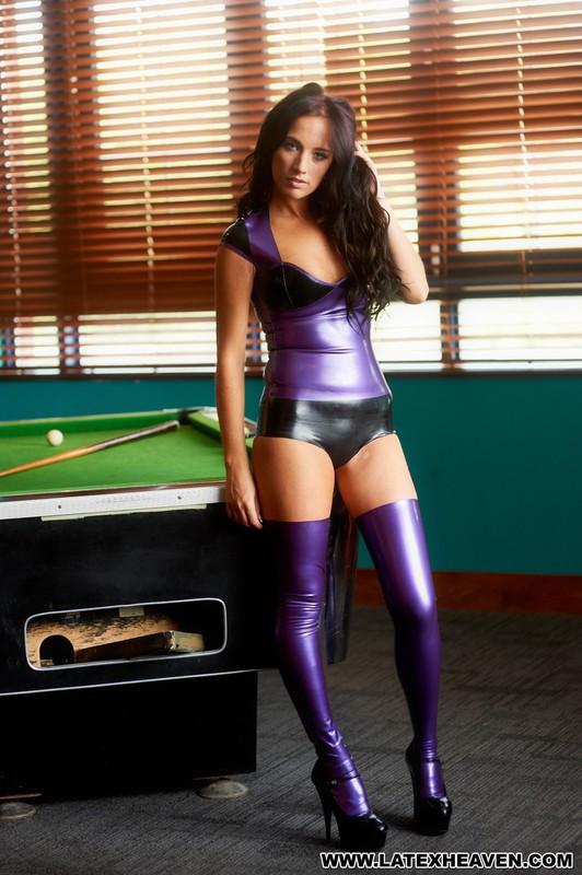 billiard girl Jemma in kinky latex clothes