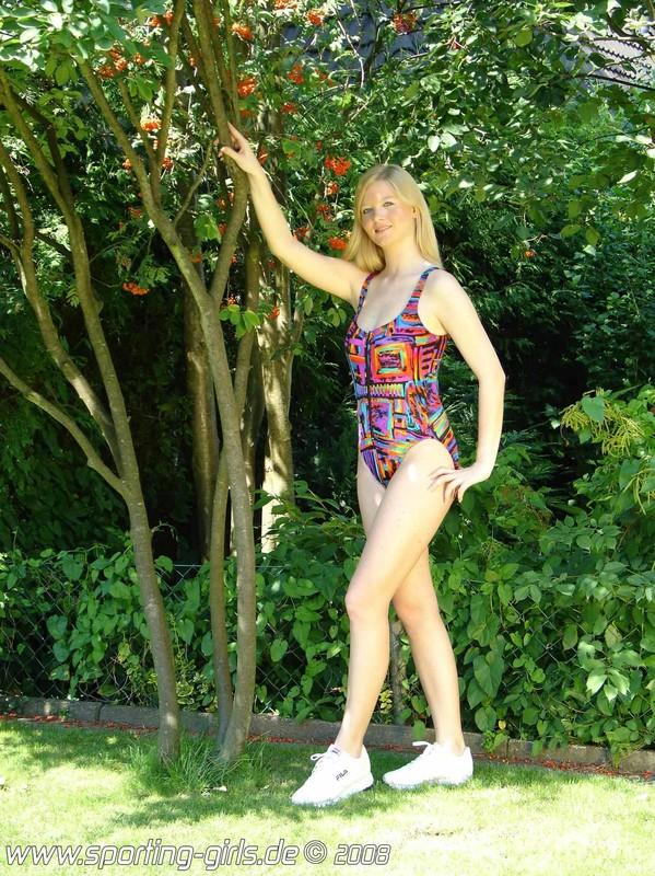 gardener lady Saskia in 1 piece swimsuit