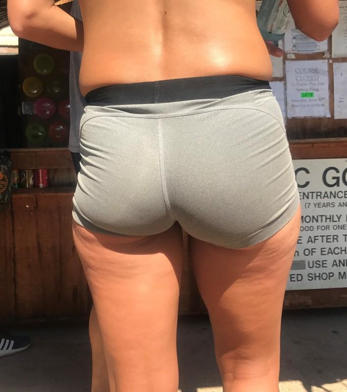 wonderful butt in tight grey spandex shorts