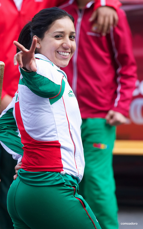 mexican athlete girl in green lycra pants