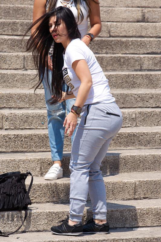 hispanic lady in kinky sweat pants