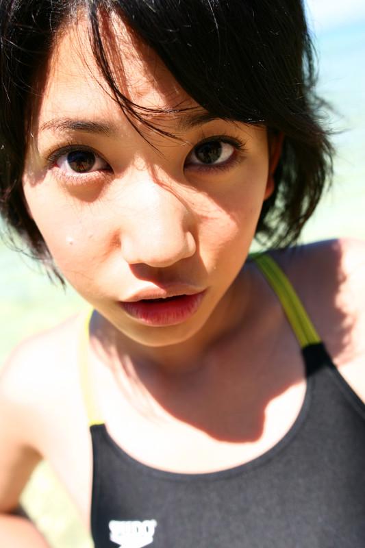 beach girl Mikan Asakura in wet speedo swimsuit