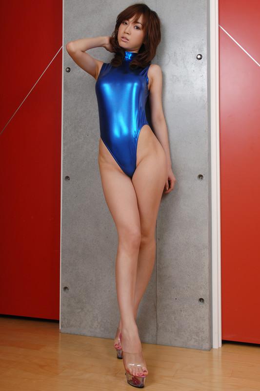 horny japan female Mayu Oya in blue shiny leotards