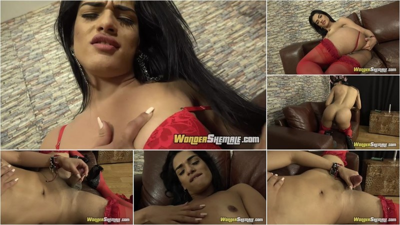 Barbara Caroline - Latina Teen Transsexual Barbara Caroline Strips Lingerie And Masturbates [FullHD 1080p]