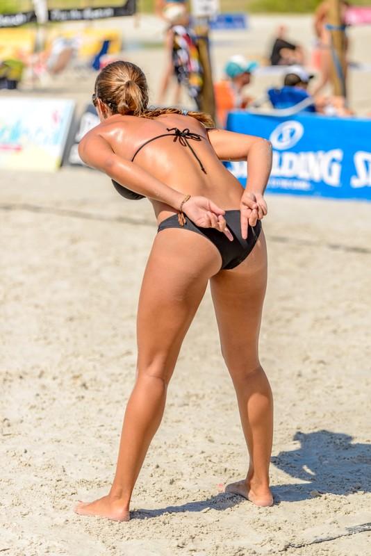 beach volleyball girls in candid bikini
