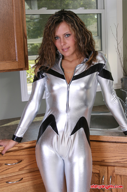 kitchen shiny angel in silver catsuit
