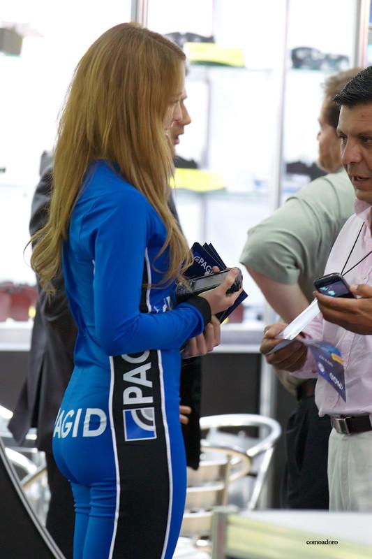 promo girl in tight blue uniform