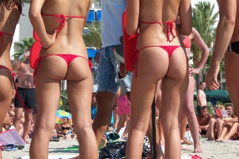 gorgeous beach girls in red bikini
