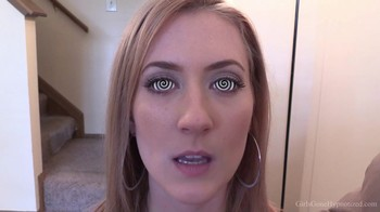 Stepbrother hypnotized dumb blonde sister and programs her to become a sex bot