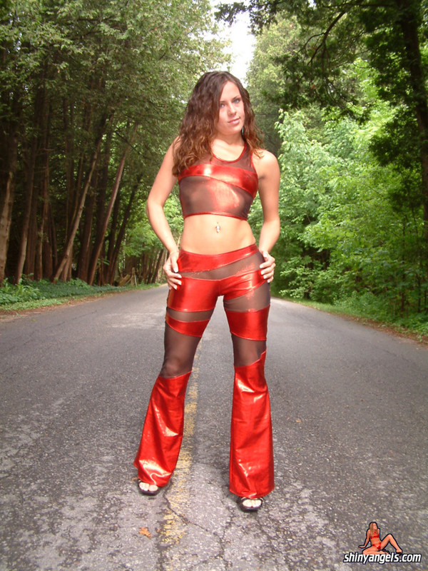 lovely shiny angel in red wetlook costume