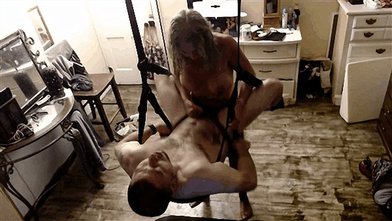 Husband gets intimate passionate strapon pegging on sex swing [FullHD 1080P]