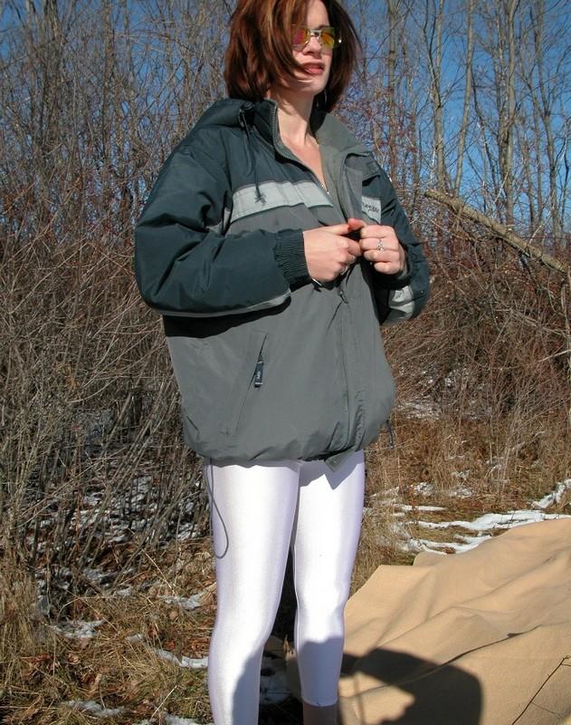 handsome lady in white leotards & leggings