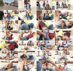 Sicilia, Gina Gerson - Delicious Denim Demolition: Uber-Cuties Sicilia and Gina Vs. Mike Angelo - An Ass, Pussy All Inclusive Bang (Sexinjeans/SinDrive) HD 720p