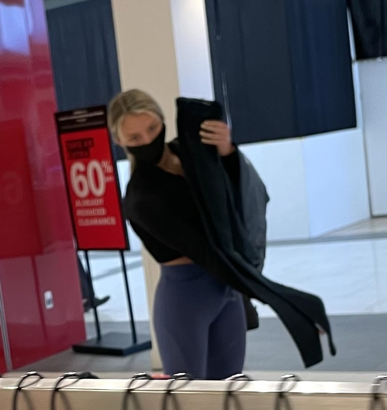 charming babe in candid blue yogapants