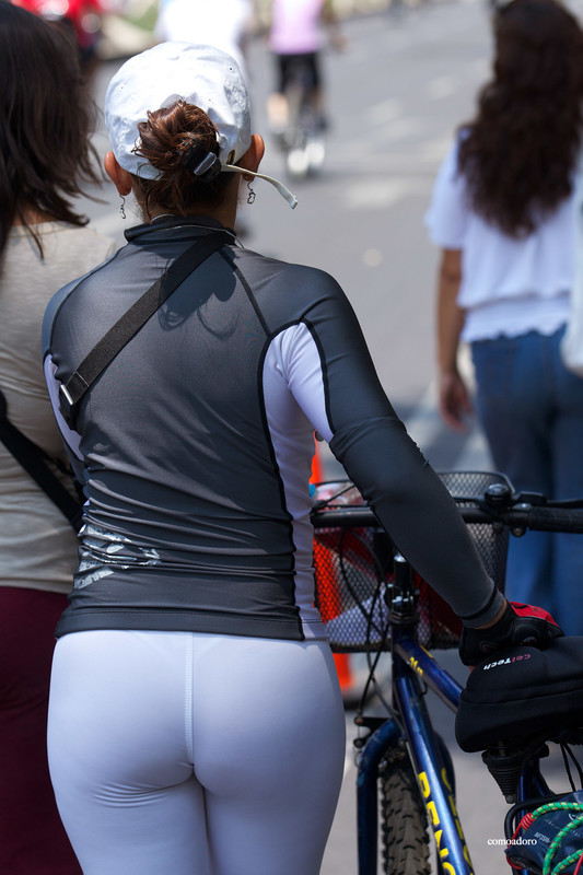 lovely bicycle babe in white leggings