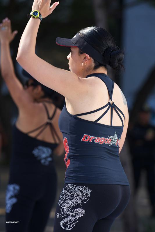 sporty latina female in tight yogapants