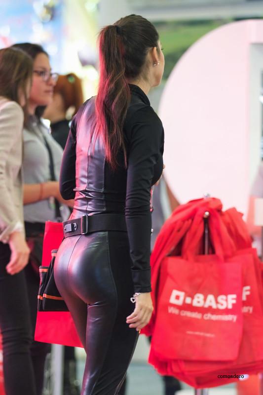 sensual promo girl in black catsuit