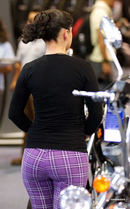 motobike show lady in tight sexy pants