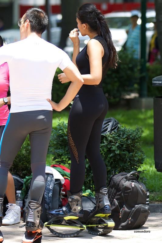 latina hottie in yoga pants & kangaroo shoes