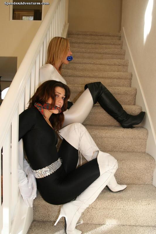 hot lesbian bondage girls in boots & spandex bodysuits