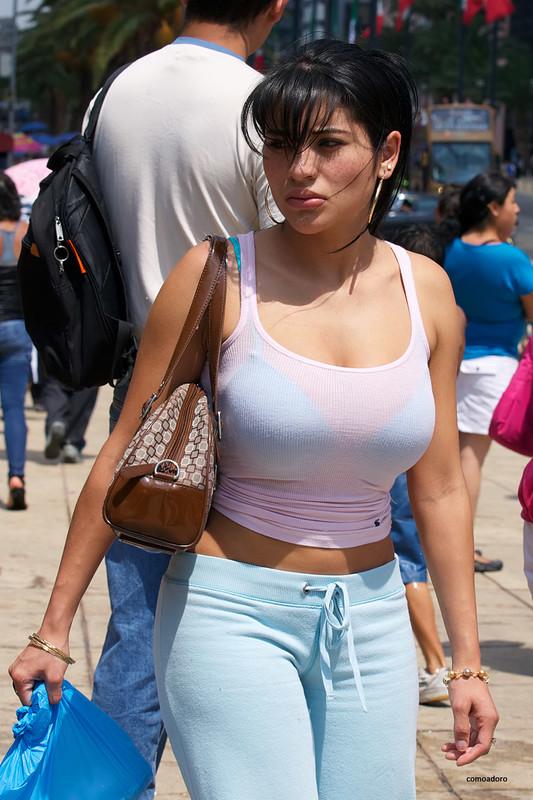 busty hispanic lady in sweat pants