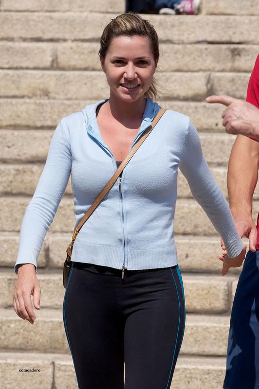sporty hispanic lady in lovely fitness pants