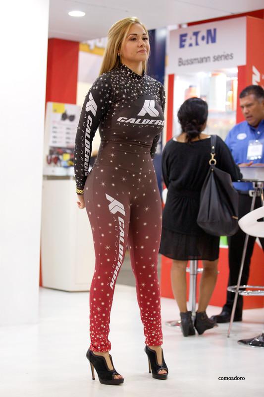 blonde promo lady in candid bodysuit
