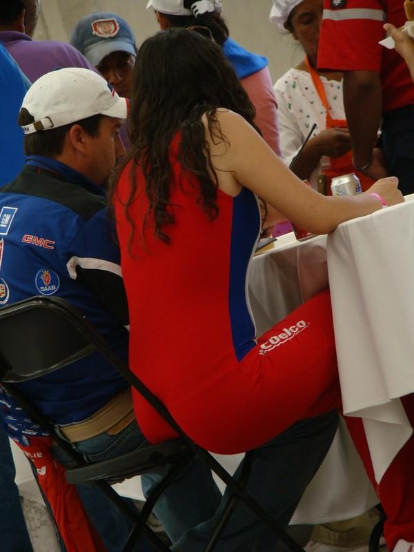promo girl in red bodysuit