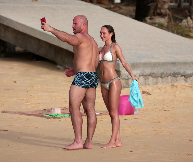 awesome wife in white bikini