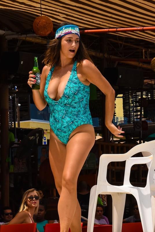 busty milf dancer in 1 piece swimwear