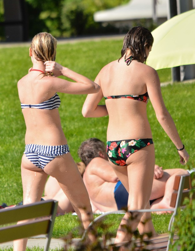 naughty city park teens in bikinis
