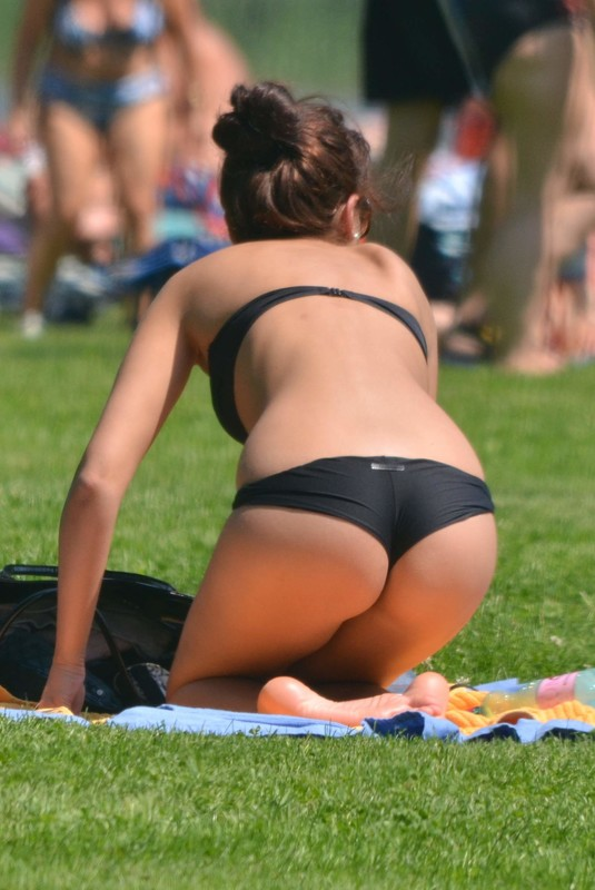 college hottie in black bikini & hotpants