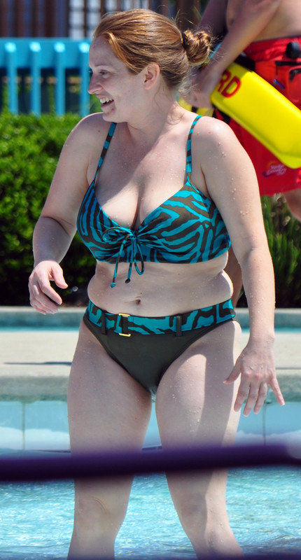 mature lady in swimming pool