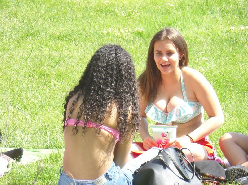 busty college babe in bikini top & shorts