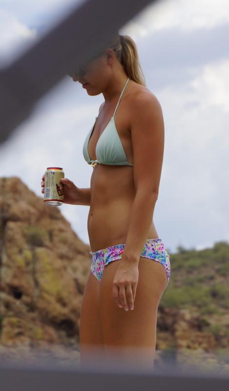 blonde tourist lady in awesome bikini