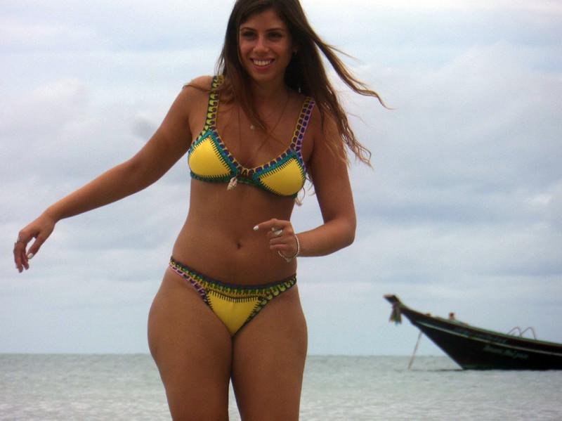 handsome babe in yellow bikini